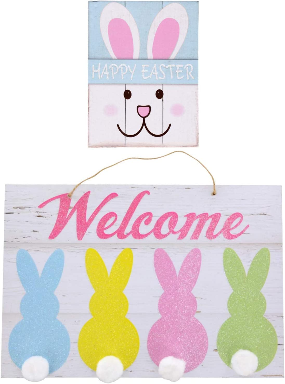 Just4You Easter Décor - 1 Welcome Sign with 4 Cotton Tail Bunnies and 1 Happy Easter Bunny Table Top or Wall Sign - Country Farmhouse Distressed Wood Look - Set of 2 Wooden Signs