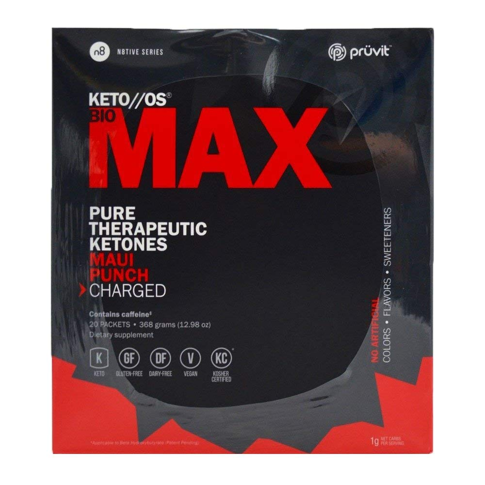 KETO//OS MAX Maui Punch CHARGED, BHB Salts Ketogenic Supplement - Beta Hydroxybutyrates Exogenous Ketones for Fat Loss, Workout Energy Boost and Weight Management through Fast Ketosis, 20 Sachets by Pruvit