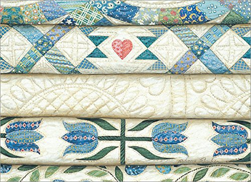 Quilt Note - Blank Note Card Set Stacked Quilts Blues 8 ct Package w/Envelopes Made in USA