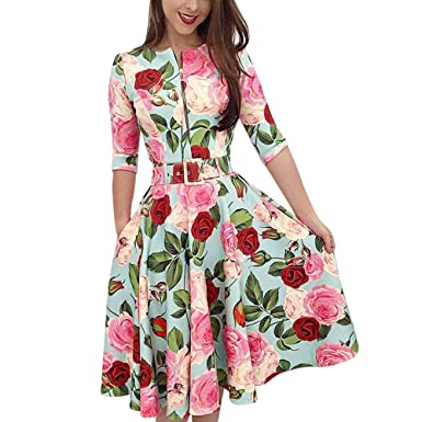 a01878b91c9b Vintage Floral Dress Women Casual Half Sleeve Zipper Front Ruffled Belt  Rockabilly Party Gown Dress at Amazon Women s Clothing store