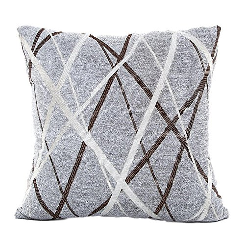 (iYBUIA Simple Line Stylish Simplicity Polyester Cushion Cover Sofa Throw Pillow Case Home)
