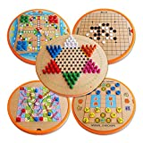 Finebaby 10 in 1 Wood Table Game Set Kids Brain Development Early Educational Intelligence Toys Non-toxic Flying Chess for Children Adults Boys Girls
