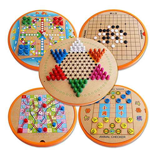 Brain Intelligent Game (Finebaby 10 in 1 Wood Table Game Set Kids Brain Development Early Educational Intelligence Toys Non-toxic Flying Chess for Children Adults Boys Girls)