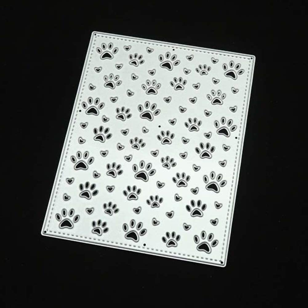 Embossing Stencil Template for DIY Scrapbook Album Paper Card Art Craft Decoration,Dog Paw Footprint Silver TankMR Metal Cutting Dies