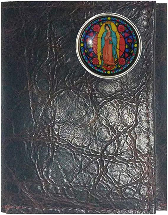 Proudly made in the USA. Custom Come And Take It Concho on a Black Harness Leather Trifold Wallet