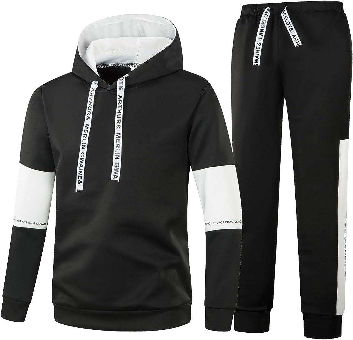 Kinlonsair Mens Casual Full Zip Tracksuit Long Sleeve Running Jogging Sports Tracksuit Set