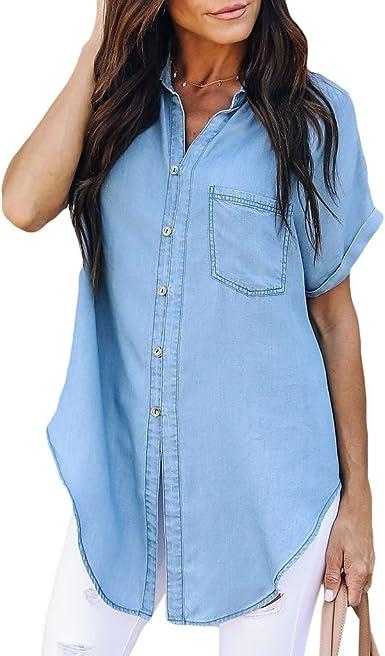 Lunji - Camisa de Jean para Mujer, Manga Corta, asimétrica, Informal, para Oficina, Color Azul Claro, Talla XL: Amazon.es: Ropa y accesorios