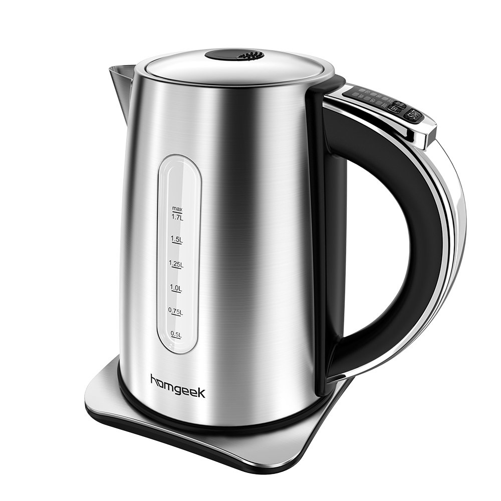 Homgeek electric kettle (BPA Free)1.7 Liter Tea Kettle Stainless Steel Cordless Water Kettle (6 temperature setting, Auto Shut-off, Boil Dry Protection, Keep Warm Function) by Homgeek