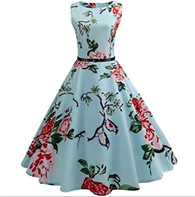JYC Clearance Womens Vintage Floral Bodycon Sleeveless Casual Evening Party Prom Swing Dress 1950s Floral Print