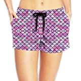 Louise Morrison Pink Diamond Mermaid Tail Women Boardshort Swim Trunks Beach Shorts