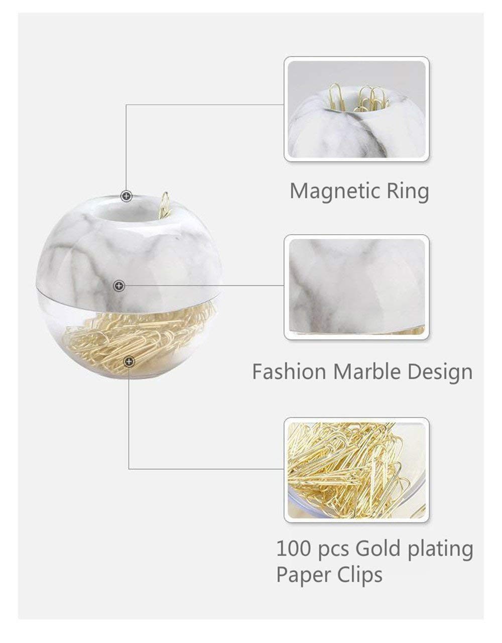 1.1 Gold Paper Clips 28mm Medium with Marble White Paper Clips Holder Magnetic 100pcs Paper Clips for Office Desk Organizer