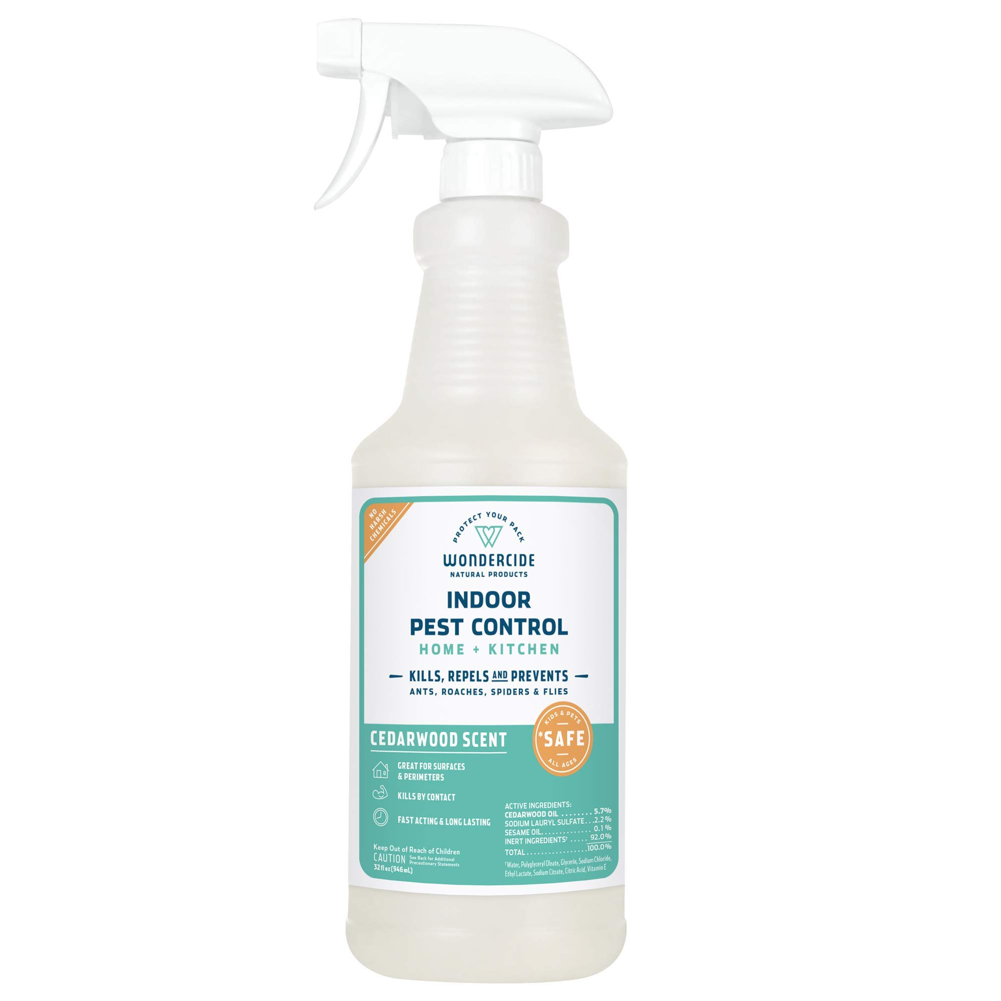 Wondercide Natural Indoor Pest Control Spray for Home and Kitchen - Fly, Ant, Spider, Roach, and Bug Killer and Repellent - 32 oz Cedarwood by Wondercide