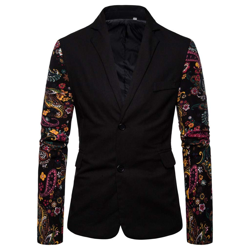 LUCAMORE Mens Casual Slim Fit Blazer Vintage Ethnic Printed Dress Floral Suit Long Sleeve Jacket Sports Coats by LUCA-Mens Suits & Sport Coats