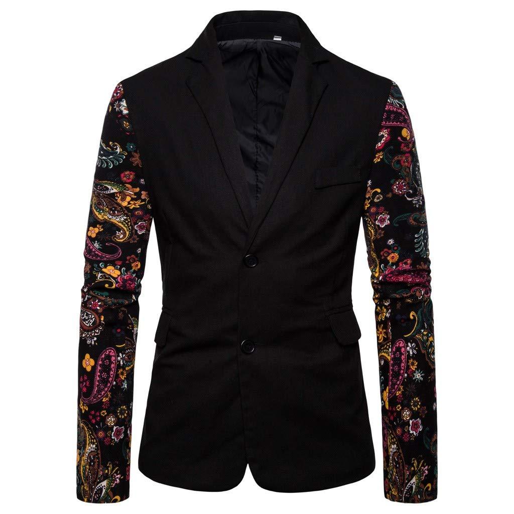 Fauean Man Vintage Ethnic Printed Floral Dress Suit Slim Fit Blazer Blazer Suit Men Slim Fit Formal Jacket Suit for Men by Fauean Clothing