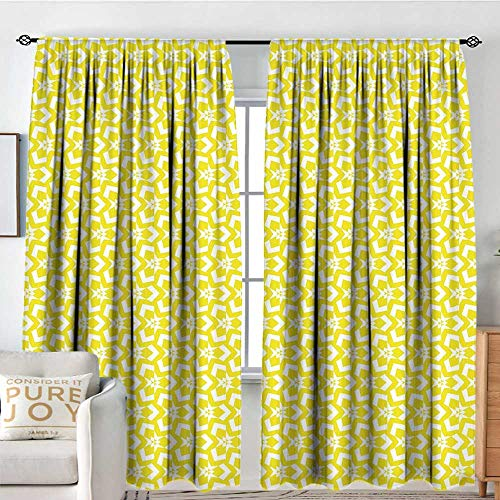 (NUOMANAN Sheer Curtains Yellow,Geometrical Abstract Design Elements Retro Style Revival Chevron Triangle Motifs,Yellow White,Decor Collection Thermal/Room Darkening Window Curtains 100