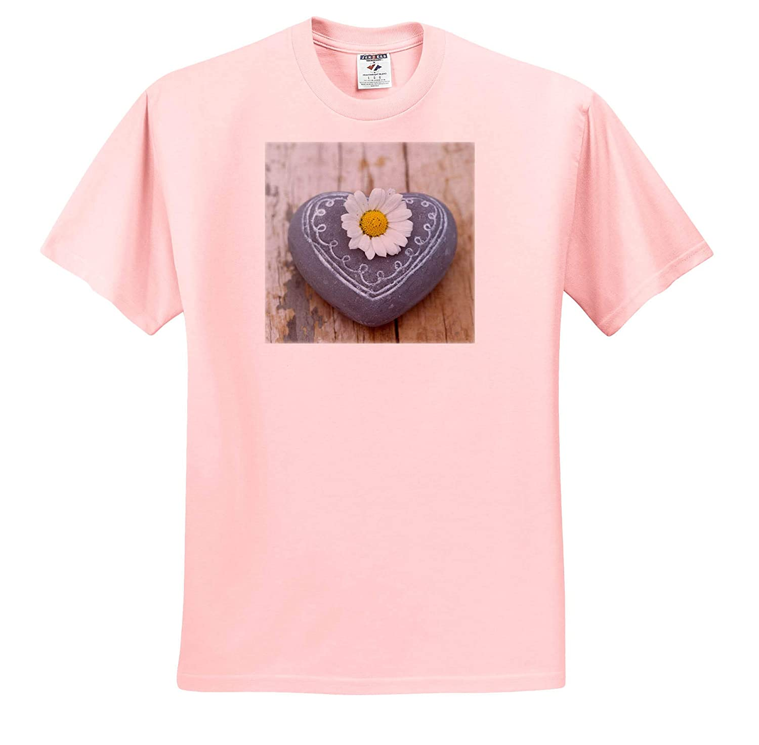 T-Shirts 3dRose Uta Naumann Photography Stilllife Silver Heart and Lavender Flower Blossoms on Shabby Chic Background