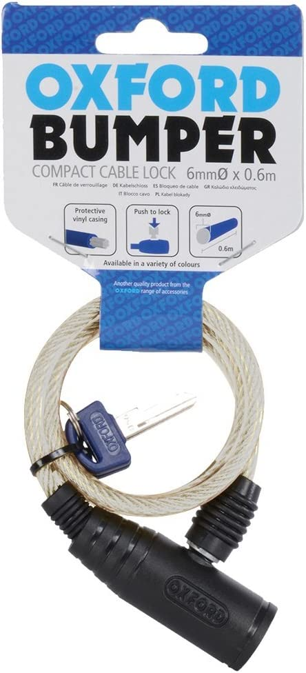 Clear 60 x 6 mm Oxford Unisexs 01 Bumper Cable Lock-Smoke