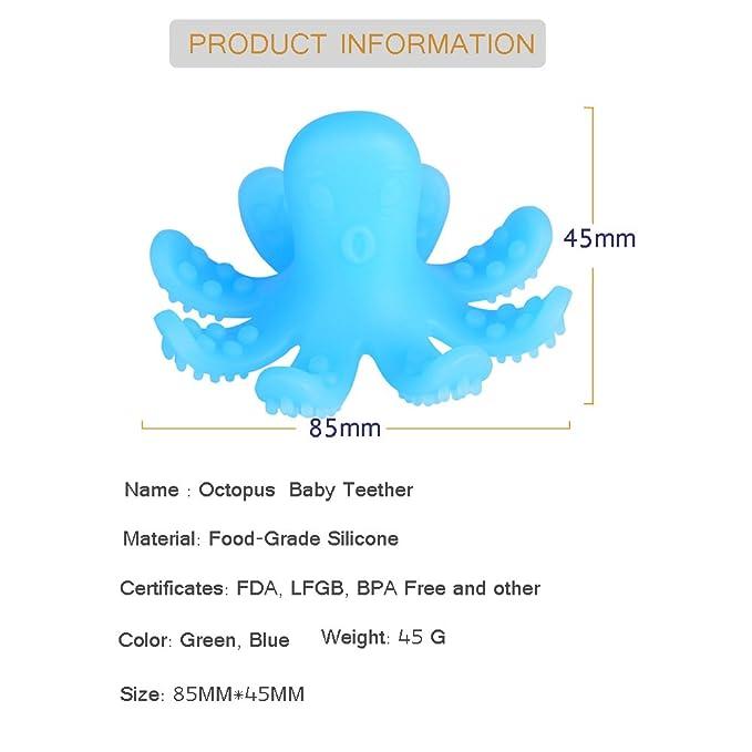 SOYAR® mordedor bebé - Pulpo juguete y el 100% BPA de silicona de mordedor gratis (Azul)