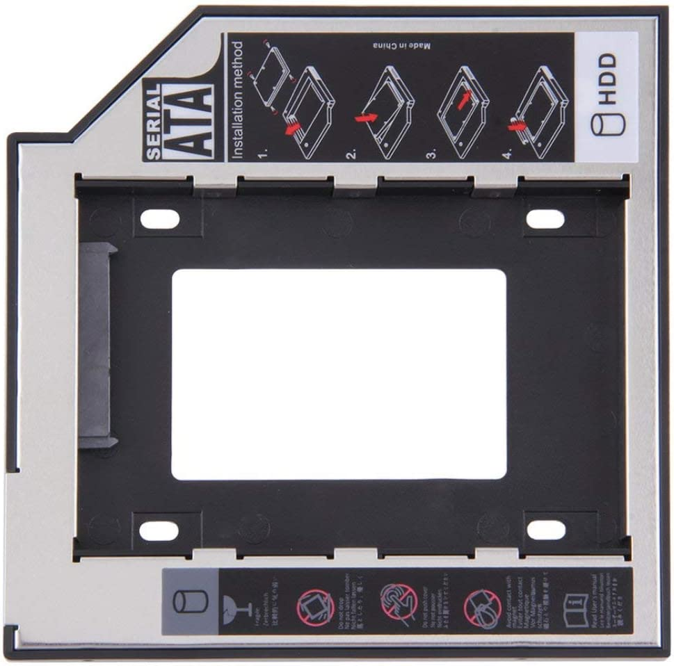 9.5mm Universal SATA 2nd HDD SSD Hard Drive Caddy for CD//DVD-ROM Optical Bay