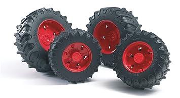 Bruder 03303 - Ruedas gemelas con bordes rojos para el tractor de la serie 03 000