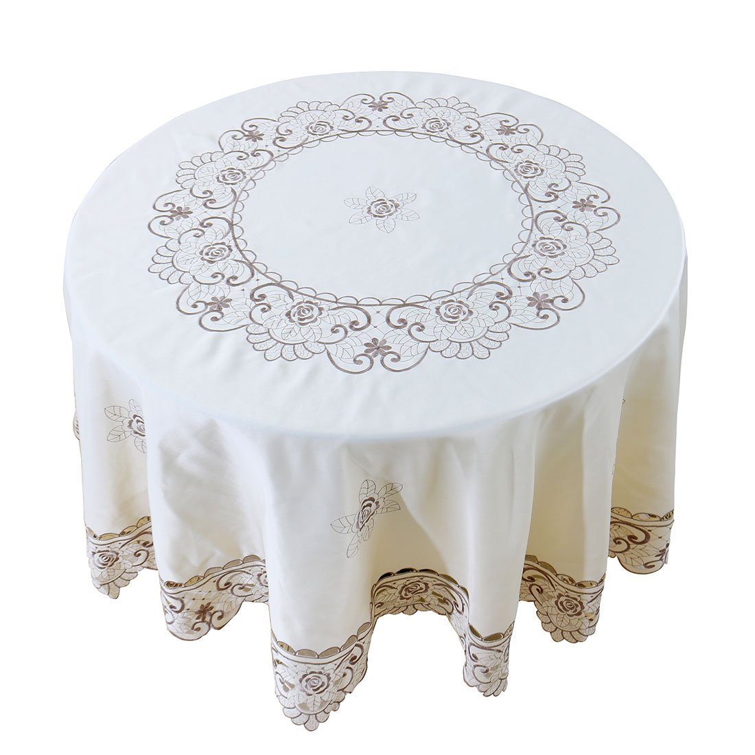 """Linen Embroidered Round Tablecloth Table Cover 59/"""" Dia Water Oil Stain Resistant"""