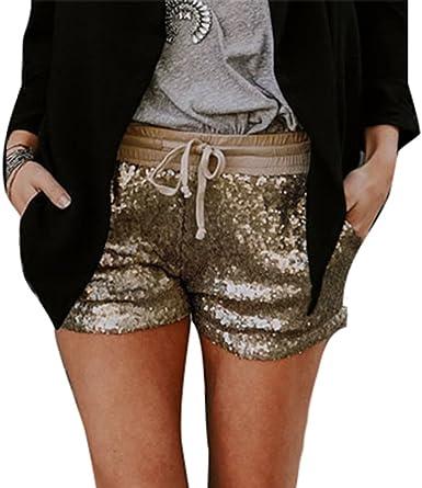 Pantalones Cortos Para Mujer Fashion Color Solido Cintura Elastico Ajustados Shorts Con Cordon Moda Lentejuelas Casual Fiesta Club Pantalon Amazon Es Ropa Y Accesorios