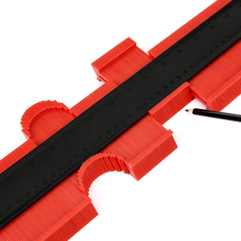 Deylaying 20 Inch 500 mm Contour Gauge Duplicator Profile Measuring Tool Wood Marking Shape Tracing Template General Ruler Red