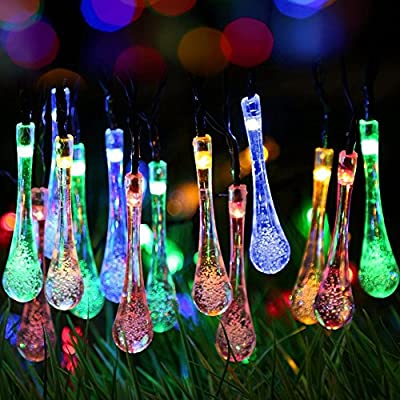 [2 Modes 30 LED] Easternstar Solar Powered Water Drop String Lights 15.6ft Solar LED Raindrop Style Waterproof Lights Blue for Festival, Party, Patio, Garden, Lawn, Xmas Tree, Season Decorative