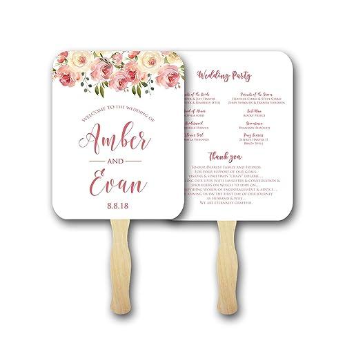 Amazon.com: Wedding program fans/Personalized Wedding fans for