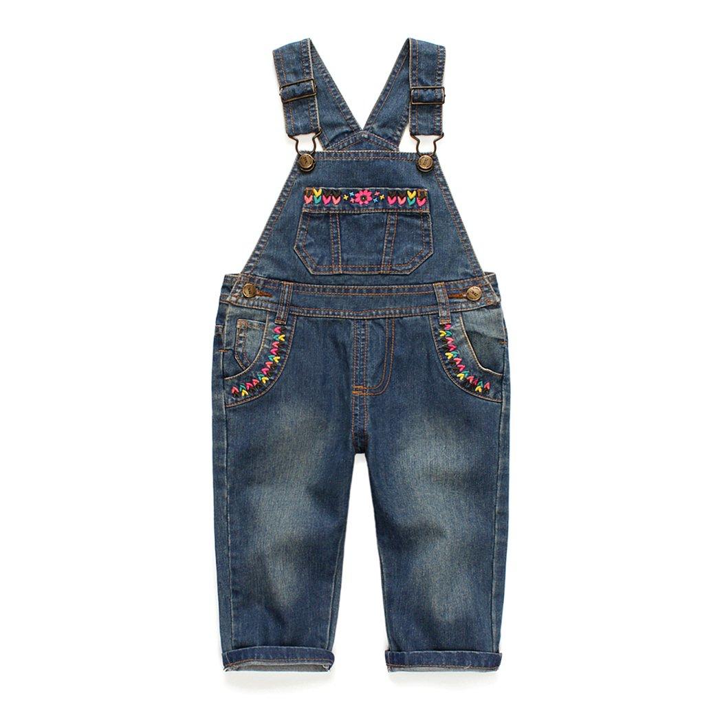 Kidscool Baby and Little Girls Flower Decor Big Bib Jeans Overalls Deep Blue 3-4 years