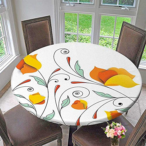 Simple Modern Round Table Cloth Bouquet with Swirled Branches Romantic Paper Flowers Origami Autumn Blooms Image Mint Orange for Daily use, Wedding, Restaurant 40