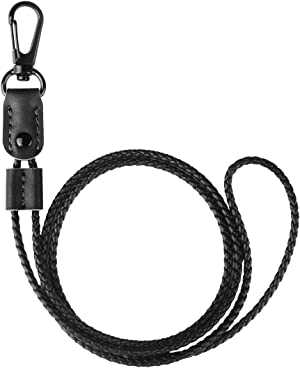 UTOPER Neck Lanyard Braided Leather Badge Lanyards Adjustable Sling Necklace String Strap for ID Card Badge Holders,Student Staff Work Card Holder,Passes,Keychain,Mobile Phone(Black)