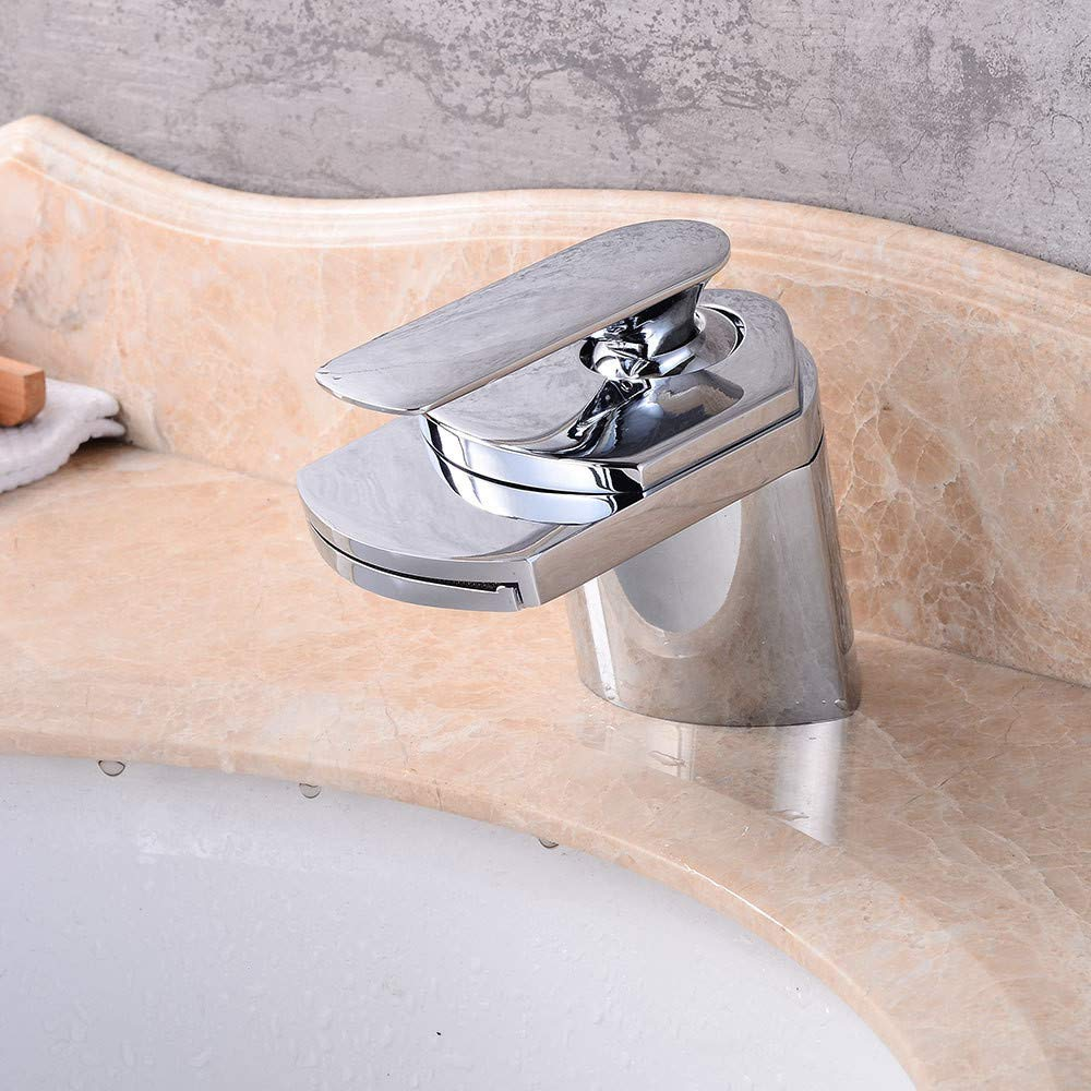 YAWEDA Wide Mouth, Single Hole, Full Copper Basin, Faucet, Waterfall, Bathroom, Sink, Faucet, Washbasin, Waterfall, Cold and Hot Water Mixer