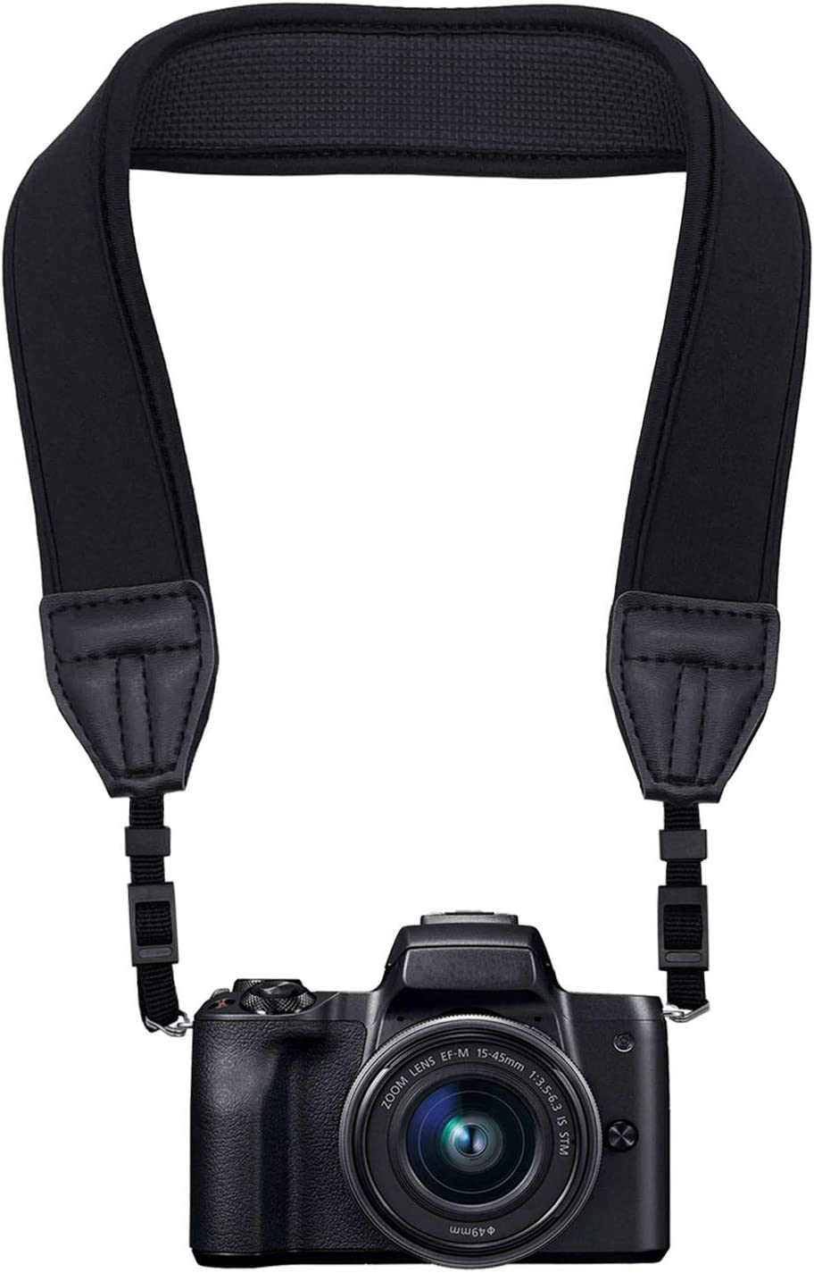 Hukado Camera Strap, Adjustable Anti-Slip Elastic Neoprene Shoulder Neck Strap for Most Canon Nikon Sony DSLR Cameras and Binoculars, Black