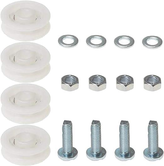 Spares2go - Juego de ruedas para puerta corredera de invernadero (4 ruedas de nailon de 28 mm): Amazon.es: Hogar