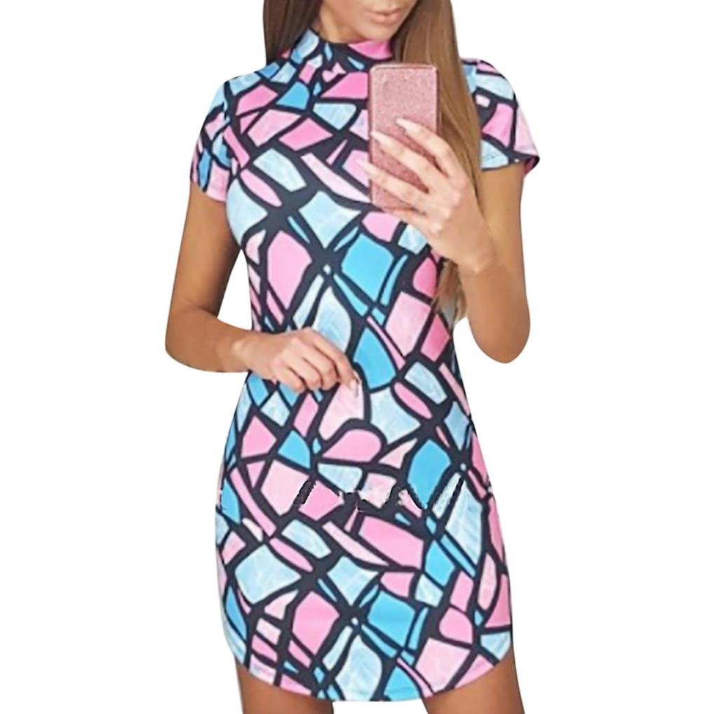 Clearance!!Colorful Geometric Pattern Printed Short Sleeve Mini Dress Package Hips Slim Fashion Design Summer Dress (L, Multicolor)