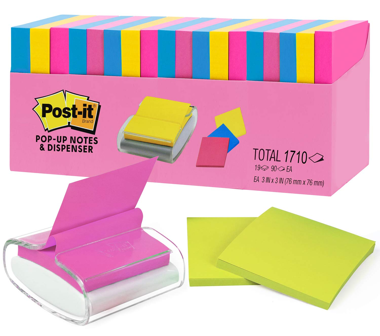 Post It Super Sticky Notes 2X The Sticking Power (3''x 3'') Value Pack 19 Individual Pads Total 1710 Sheets with Pop-up Notes Dispenser.