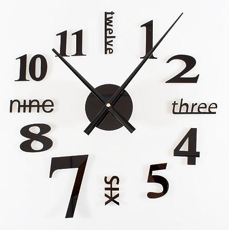 CHLWW Creativa Simple Personalizado Negro Acrílico Moderno Diversión Bricolaje Inglés Vinilos Decorativos Digitales Reloj De Pared