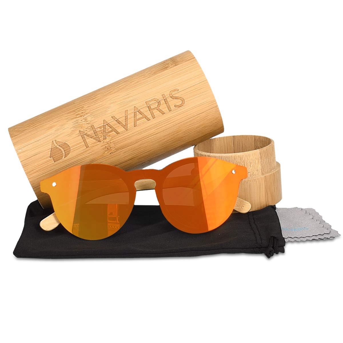 donna uomo Occhiale unisex con custodia in bamboo Navaris Occhiali da sole in bamb/ù UV400 lenti polarizzate colorate in acrilico