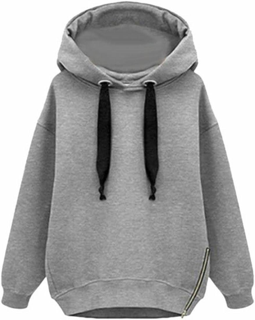 Kankanluck Womens Solid Loose Fit Long Sleeve Pullover Hoodie Top