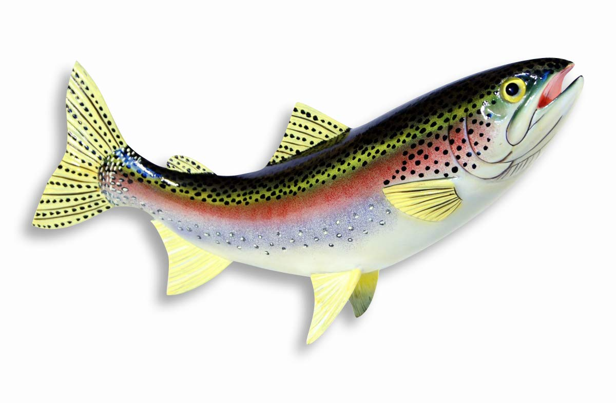 11 Carved-Wood Look Trout Fish for Shelf or Mantle