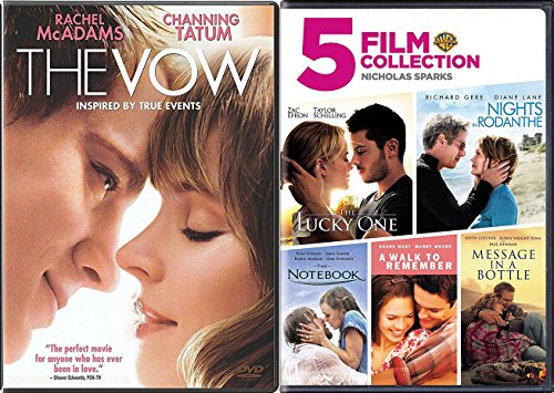 6 Romance Movies Nicholas Sparks The Notebook / A walk to Remember / Nights in Rodanthe / Message in a Bottle / Lucky One & The Vow DVD Set Love ()