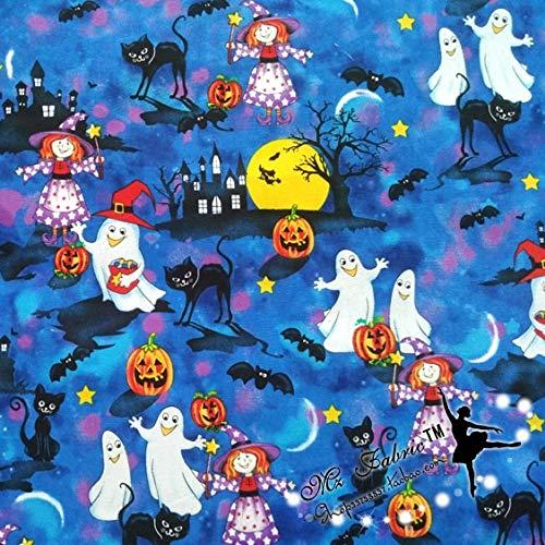 - Lavenz 140100cm Blue Background Ghosts Pumpkins Black Cats Halloween Cotton Fabric for Halloween Decoration Patchwork DIY-AFCK164