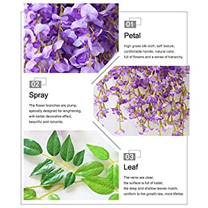 Mcupper-Pack of 12 Artificial Wisteria Vine Ratta Hanging Garland 3.6 Feet Fake Silk Flowers String for Home Party Wedding Décor (Green) 4