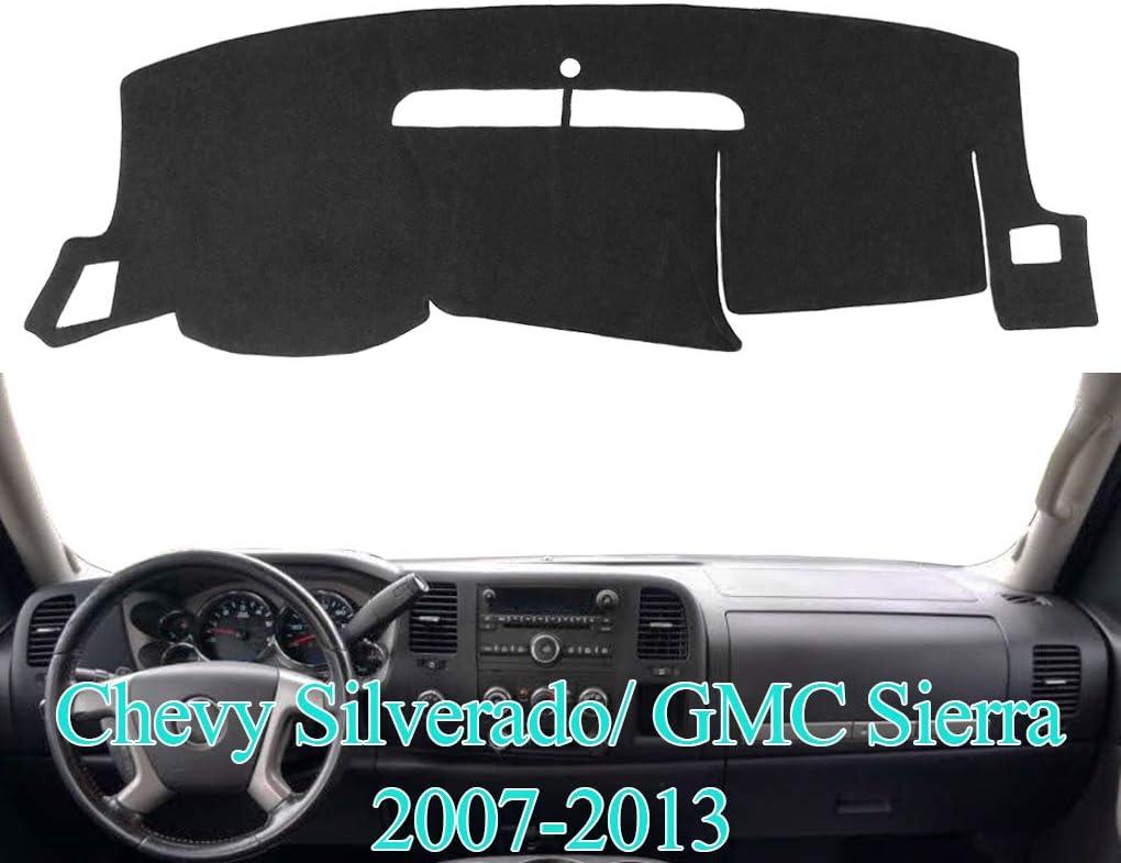 AKMOTOR Dash Cover Dashboard Cover Pad Mat Custom for GMC Sierra 2007-2013,Chevy Chevrolet Silverado 1500 LT/WT 2007 2008 2009 2010 2011 2012 2013 (07-13 Black) Y74