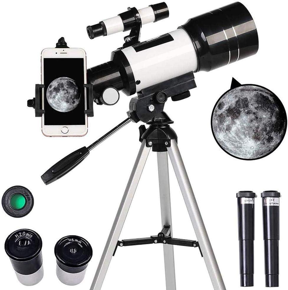 WHXJ Telescopios Astronomicos Profesionales Adultos, Telescopio Refractor Astronómico con Montura AZ De 300 Mm De Apertura De 70 Mm, Telescopio Portátil con Adaptador De Trípode/Óptica Multicapa