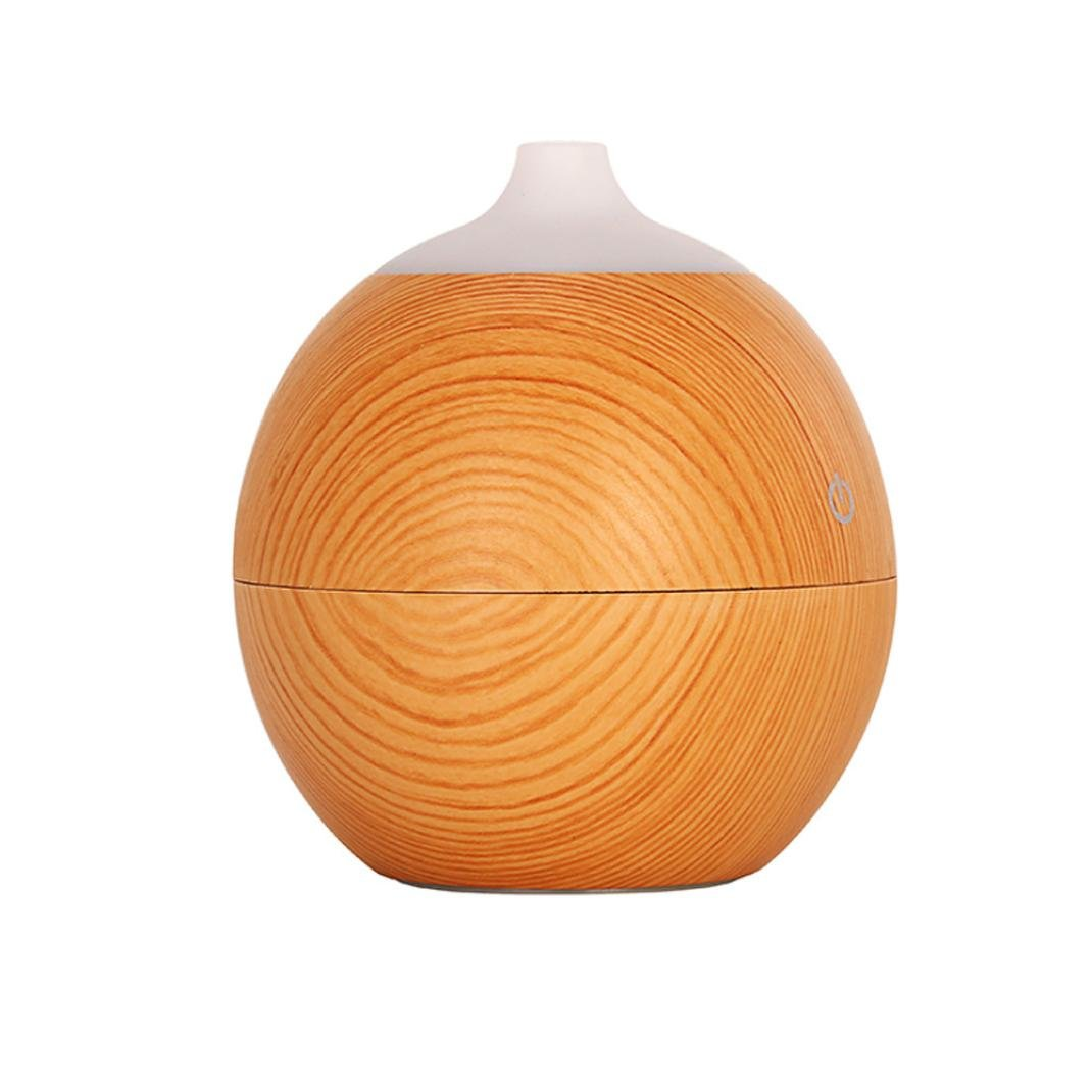 Fineser 130ml Aroma Essential Oil Diffuser, Wood Grain Ultrasonic Cool Mist Humidifier with 7 Color LED Lights and USB Powered , for Office Home Bedroom Living Room Yoga Spa (Yellow)