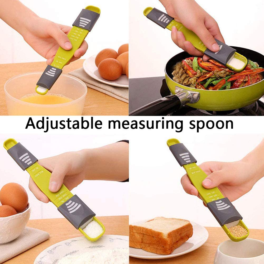 BESTZY Adjustable Measuring Spoon 3PCS Measuring Spoon Set Double End Adjustable Scale Eight Stalls Metric Spoon up for Baking,Cooking,Powder,Spices ect