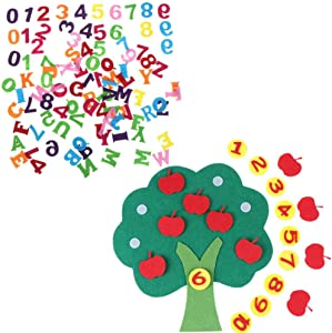 JiaUfmi 100 Pieces Felt Numbers Alphabet Stickers for Kids DIY Craft Ornament, Assorted Colors, Math Toys DIY Apple Trees Numbers Matching Game Toy Children's Toys