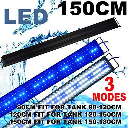 KZKR LED Aquarium Hood Lighting 60-72 inch Fish Tank Light Lamp for Freshwater Saltwater Marine Blue and White Decorations Light 5-6ft 150cm - 180cm -